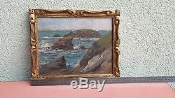 Tableau ancien Paysage Mer Marine Falaises Normandie Bretagne signé à identifier