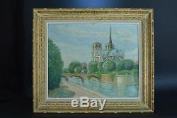 Tableau ancien Paysage Notre Dame de Paris La seine Printemps Our lady of Paris
