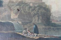 Tableau ancien Paysage animé Anonyme XVIIIème Superbe