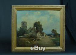 Tableau ancien Paysage animé Ferme Basse cour Normandie 19ème hst cadre Henry