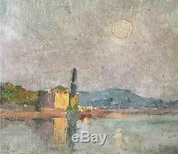 Tableau ancien Paysage au clair de lune par Jeanne Ferrez Petit maitre local