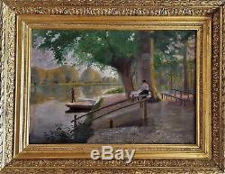 Tableau ancien Paysage impressionniste signé BISCHOFF