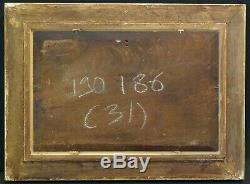 Tableau ancien Pêcheurs Rivière Paysage Camille Flers XIXe Signé Barbizon
