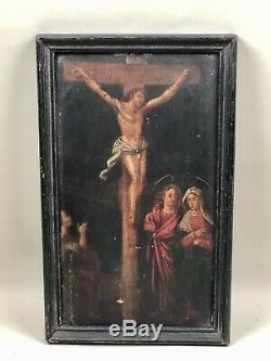Tableau ancien, Peinture d'une Crucifixion sur bois XVIIIème