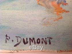 Tableau ancien Pierre DUMONT (1920-1987) Huile toile Marine Saint Tropez Signé