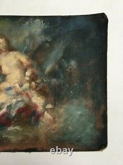 Tableau ancien, Pochade, Huile sur toile marouflée sur carton, XIXe