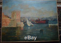 Tableau ancien, Port de Marseille 1920, par François Maury