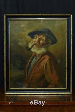 Tableau ancien Portait homme a LA PIPE BISTROT FUMEUR Tabacologie LAMBERT hst 19