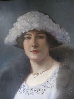 Tableau ancien Portrait Dame Notable Huile Toile signée J. CHAULEUR 1903