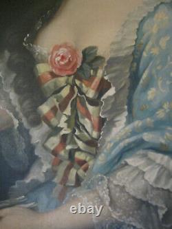 Tableau ancien Portrait Dame de qualité Rose Huile Toile XIXe Shabby chic Signé