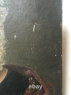 Tableau ancien, Portrait De Gouvernante, Huile Sur Toile, XIXe