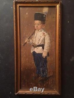 Tableau ancien Portrait Enfant en Uniforme Militaire à Berchtesgaden Huile c1911