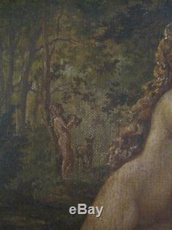 Tableau ancien Portrait Femme Nu Faune Nymphes Huile Toile Symbolisme XIXe