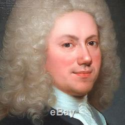 Tableau ancien Portrait Homme Ecole Française 18 ème cadre