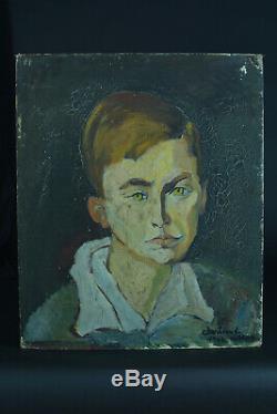 Tableau ancien Portrait Homme La Coupole Montparnasse Paris Christiane Laran