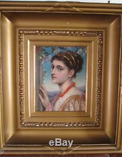 Tableau ancien Portrait Huile Jeune Femme XIXe Préraphaélite Symbolisme Cadre