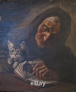 Tableau ancien Portrait Huile Toile Femme Vieille Dame Chat Giovanni MASUTTI