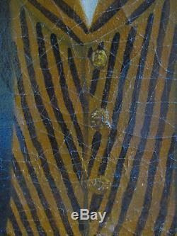 Tableau ancien Portrait Huile Toile Homme XIXe Shabby French Vintage Painting