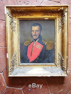 Tableau ancien Portrait Huile Toile Militaire CAPITAINE 12em regiment de caen