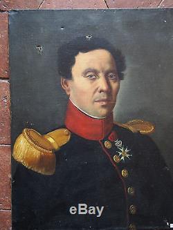 Tableau ancien Portrait Huile Toile Militaire OFFICIER D'ETAT MAJOR II EMPIRE