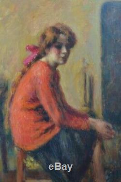 Tableau ancien Portrait Jeune femme dans l'atelier Charles Guerin Japon expo1907