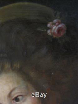 Tableau ancien Portrait XVIIIe Enfant Huile Toile Jeune Fille à la colombe/Rose