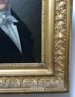 Tableau ancien, Portrait d'homme, Huile sur toile, Cadre d'époque, Début XIXe