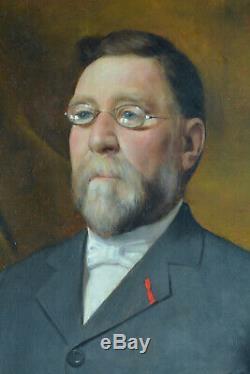 Tableau ancien Portrait d'homme Notable Lunettes Louis Delfau Catalan Perpignan
