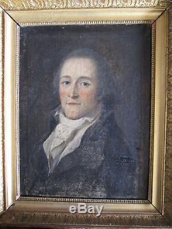 Tableau ancien Portrait d'homme XVIIIe 18e P. P. PRUD'HON Huile Toile Cadre doré
