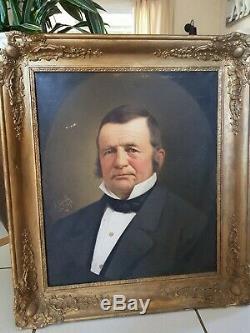 Tableau ancien, Portrait d'homme, huile sur toile XIX ème s