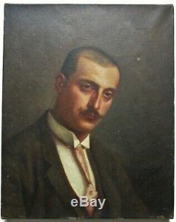 Tableau ancien Portrait d'homme, peinture huile toile XIXe signé à identifier