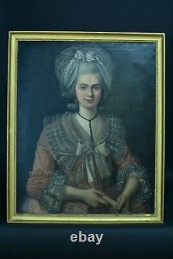 Tableau ancien Portrait d'une jeune femme Costume Louis XVI marie Antoinette 18e
