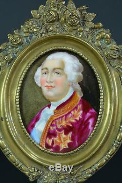 Tableau ancien Portrait de Louis XVI Roi de France Porcelaine Cadre bronze 19e