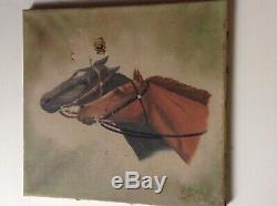 Tableau ancien Portrait de chevaux Georges GUYOT Signé Huile à restaurer