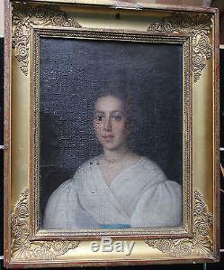 Tableau ancien Portrait de dame Anonyme Superbe