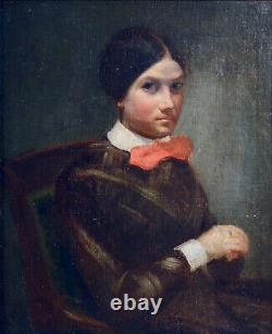 Tableau ancien Portrait de femme XIXème