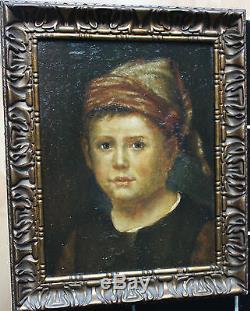 Tableau ancien Portrait de garçon Anonyme Superbe