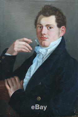 Tableau ancien Portrait de gentilhomme 1813 J. Larroze Superbe