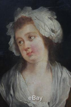Tableau ancien Portrait de jeune fille Anonyme Superbe