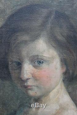 Tableau ancien Portrait de jeune fille Signé Ach. Roelandt Superbe