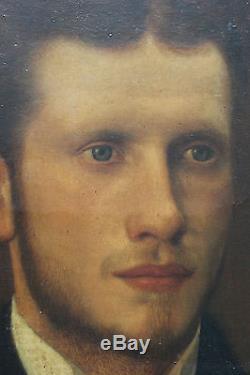Tableau ancien Portrait de jeune homme Anonyme Superbe