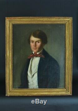 Tableau ancien Portrait de jeune homme Costume Redingote Foulard Rouge HST 1820