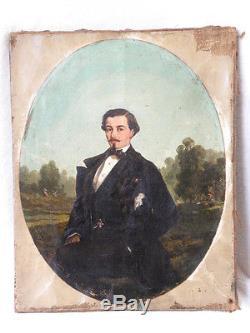 +++ Tableau ancien Portrait homme dandy 19ème belle qualité à restaurer +++