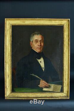Tableau ancien Portrait homme écrivant une lettre Gratitude remerciement 1820