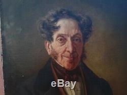 Tableau ancien Portrait homme huile sur toile François marie eugéne de cabriéres