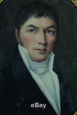 Tableau ancien Portrait jeune Homme aux yeux verts Notaire Jean-Mathias Schiff