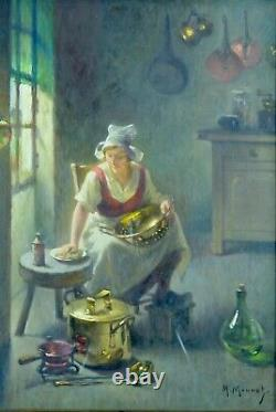 Tableau ancien Portrait servante Nettoyage des cuivres cuisine Monnot Bail 19e