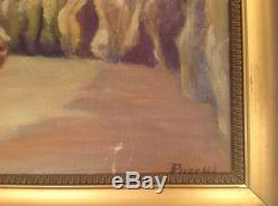 Tableau ancien Post-Impressionniste Denys PUECH Huile Mer Femme Capeline Plage
