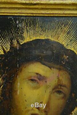 Tableau ancien Prague Portrait Christ Ecce Homo sur cuivre 17e sv Hans Aachen