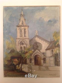 Tableau ancien Reynold Oscar DISTELI Suisse Huile Eglise Post-Impressionniste